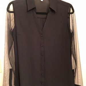 Classy Women EXPRESS Button-up with sheer sleeves